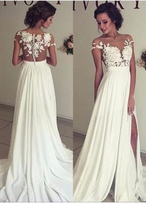 Elegant Lace Appliques Wedding Dress Long  Split_1