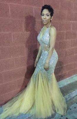Elegant Mermaid Crystals Prom Dress UK Halter Sleeveless Sweep Train BK0_3