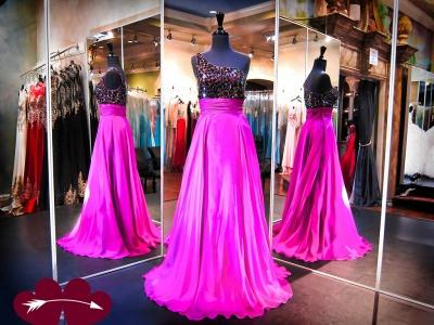 Elegant One Shoulder Crystals Evening Dress UK A-line Sweep Train_3