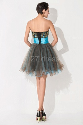 Modern Sweetheart Sleeveless Tulle Homecoming Dress UK With Peacock Beadings Crystals_5