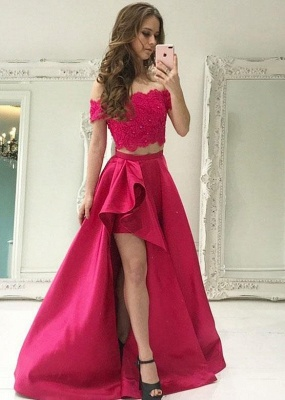 Two Pieces Lace Prom Dress UK | Evening Gowns With Slit_4