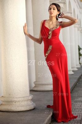 Elegant Red V-Neck Prom Gowns Ruffles Sweep Train Evening Dress UKes UK with Beadings_4