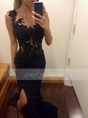 Appliques Train Prom Dress UKes UK Evening Gowns Black Scoop Sleeveless Sequins Mermaid Side Slit Sweep_1