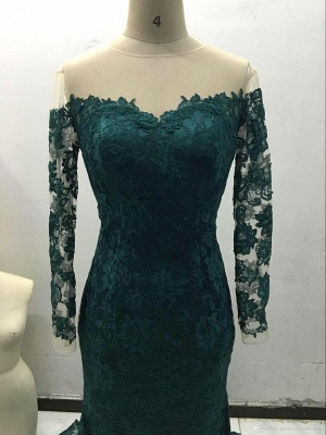 Luxury Off-the-Shoulder Long Sleeve Mermaid Prom Dress UK Lace Sweep Train_5