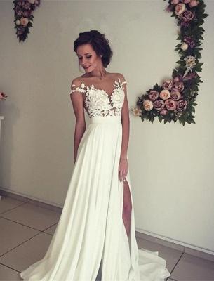 Elegant Lace Appliques Wedding Dress Long  Split_5