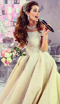 Elegant Sequined Ball Gown Wedding Dress Off-the-shoulder Court Train_1