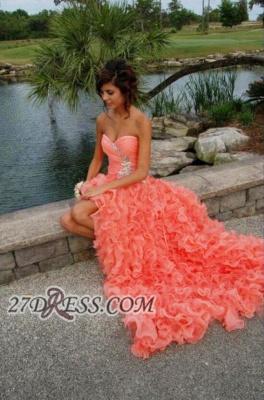 Modern Sweetheart Sleeveless Hi-Lo Prom Dress UK Beadings Lace-up Ruffles Evening Gown_1
