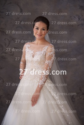 A-line Lace Sequins Beadss Wedding Dresses UK Appliques Vintage Tulle Sheer Cheap Bridal Gowns with Long Sleeves_1