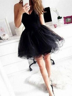 Sexy Sweetheart Little Black Dress UK Short Tulle Homecoming Dress UK_1