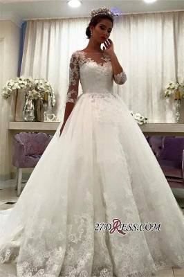 Appliques Chapel-Train Lace Ball-Gown Half-Sleeve Bateau Wedding Dresses UK BA6591_3