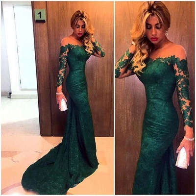 Luxury Off-the-Shoulder Long Sleeve Mermaid Prom Dress UK Lace Sweep Train_3
