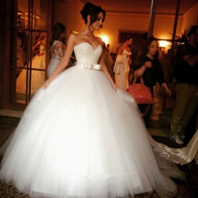 V-neck Tulle Sequins Wedding Dress Ball Gown Bowknot_2