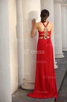 Elegant Red V-Neck Prom Gowns Ruffles Sweep Train Evening Dress UKes UK with Beadings_7