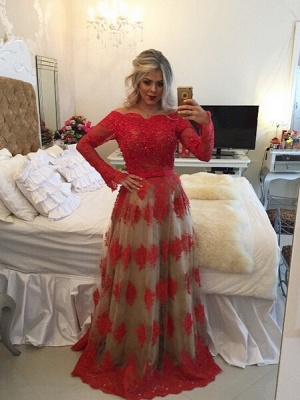 Modern Off-the-shoulder Red Prom Dress UK Lace Long Sleeve BA8928_1