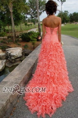 Modern Sweetheart Sleeveless Hi-Lo Prom Dress UK Beadings Lace-up Ruffles Evening Gown_4