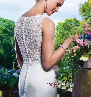 Sexy Mermaid Gorgeous Sleeveless Lace Button Zipper Wedding Dress_2