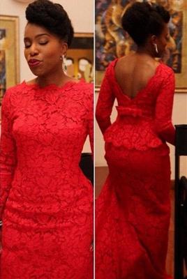 Elegant Red Lace Evening Dress UK Long On Sale_1
