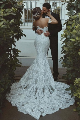 Sexy Mermaid Lace Wedding Dress Cheap Court Train Sweetheart Bridal Gowns with Sleeve Decorations_3