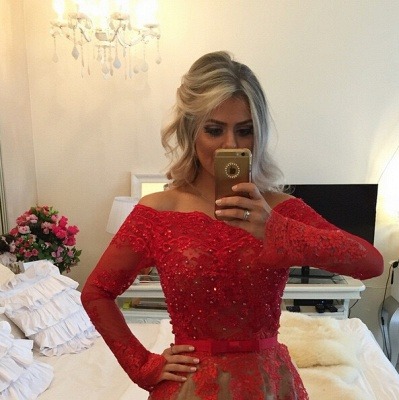 Modern Off-the-shoulder Red Prom Dress UK Lace Long Sleeve BA8928_3