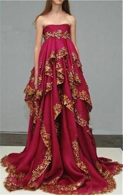 Delicate Burgundy Lace Appliques Evening Dress UK Ruffles Strapless_1