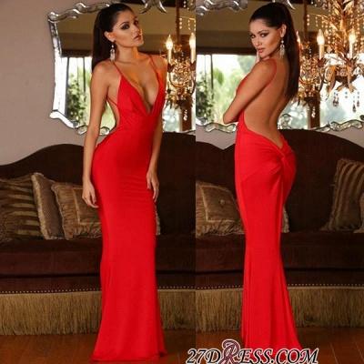 Mermaid Red Elegant V-neck Open-Back Sleeveless Prom Dress UK_1