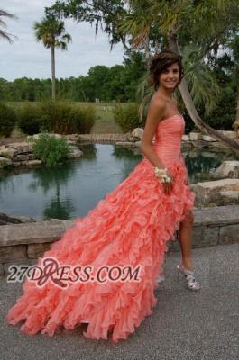 Modern Sweetheart Sleeveless Hi-Lo Prom Dress UK Beadings Lace-up Ruffles Evening Gown_2
