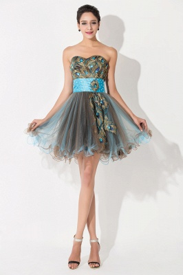 Modern Sweetheart Sleeveless Tulle Homecoming Dress UK With Peacock Beadings Crystals_1