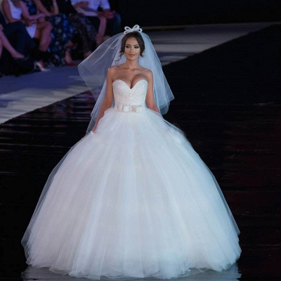 V-neck Tulle Sequins Wedding Dress Ball Gown Bowknot_3