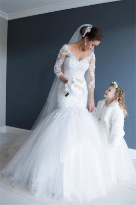 Elegant Long Sleeve Appliques Wedding Dress Tulle Sexy Mermaid On Sale_2