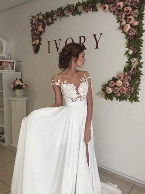 Elegant Lace Appliques Wedding Dress Long  Split_4