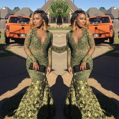 Long-sleeve v-neck prom Dress UK, evening Dress UK with lace sequins BK0 BA8037_3