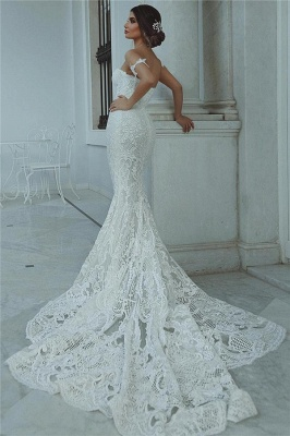 Sexy Mermaid Lace Wedding Dress Cheap Court Train Sweetheart Bridal Gowns with Sleeve Decorations_4