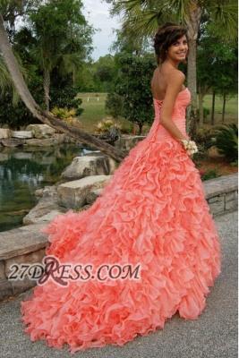 Modern Sweetheart Sleeveless Hi-Lo Prom Dress UK Beadings Lace-up Ruffles Evening Gown_3