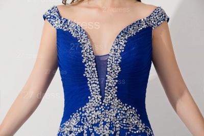 Modern Lace Appliques Mermaid Evening Dress UK V-neck Sweep Train_5
