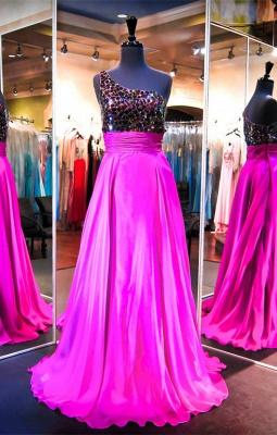 Elegant One Shoulder Crystals Evening Dress UK A-line Sweep Train_1