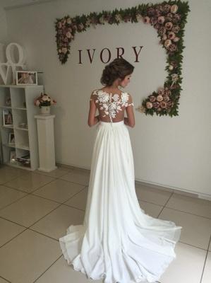 Elegant Lace Appliques Wedding Dress Long  Split_3