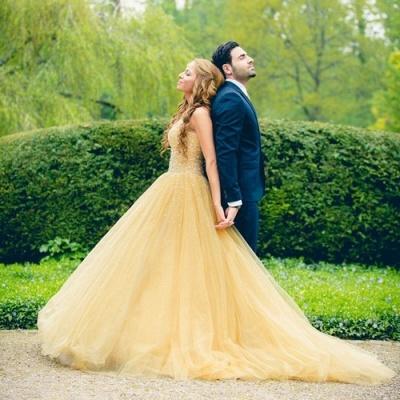 Elegant Tulle Sleeveless Wedding Dress Long Train Beadss_3