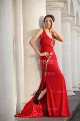 Elegant Red V-Neck Prom Gowns Ruffles Sweep Train Evening Dress UKes UK with Beadings_5