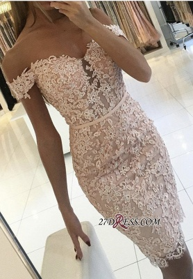 Buttons Lace Off-the-Shoulder Elegant Short Tight Homecoming Dress UK BA6358_3