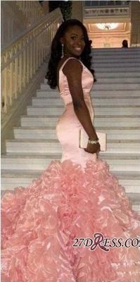 Mermaid V-neck Pink Ruffles Gorgeous Sleeveless Prom Dress UK BK0_2