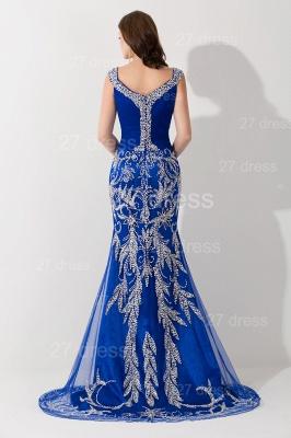 Modern Lace Appliques Mermaid Evening Dress UK V-neck Sweep Train_3
