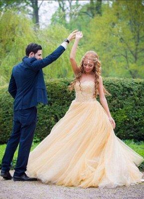 Elegant Tulle Sleeveless Wedding Dress Long Train Beadss_1