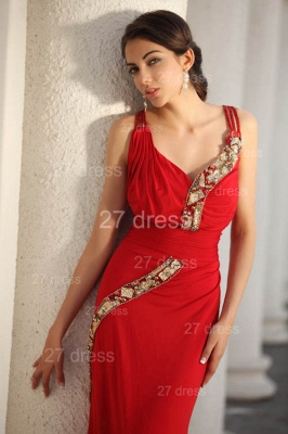 Elegant Red V-Neck Prom Gowns Ruffles Sweep Train Evening Dress UKes UK with Beadings_6