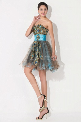 Modern Sweetheart Sleeveless Tulle Homecoming Dress UK With Peacock Beadings Crystals_4