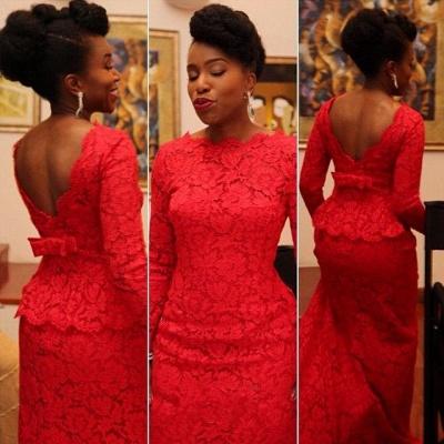 Elegant Red Lace Evening Dress UK Long On Sale_2