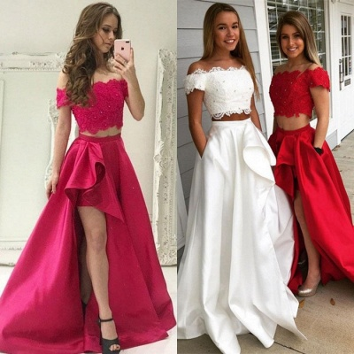Two Pieces Lace Prom Dress UK | Evening Gowns With Slit_3