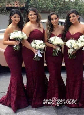 Lace Mermaid Burgundy Sweetheart-Neck Long Bridesmaid Dress UK LY194_2