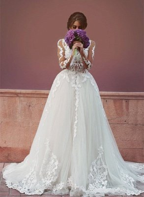 Delicate Tulle Lace Appliques Detached Wedding Dress Long Sleeve MH053_1
