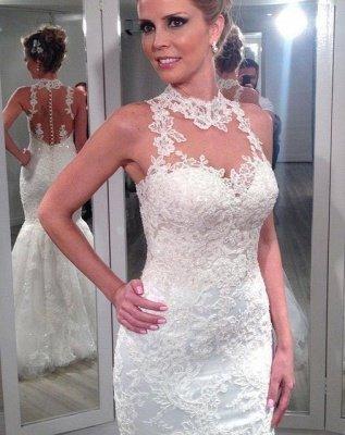 Fashion Sleeveless Lace Wedding Dresses UK Sexy Mermaid Tulle Princess_1