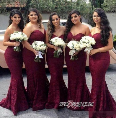 Lace Mermaid Burgundy Sweetheart-Neck Long Bridesmaid Dress UK LY194_1